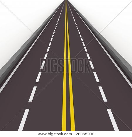 straight high way 3d illustration