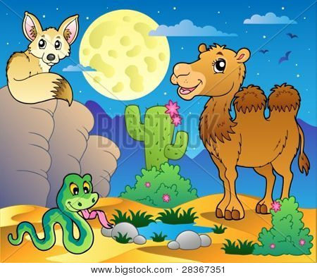 Cena com vários animais 3 - ilustração do vetor do deserto.