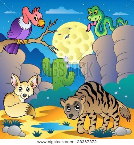 Cena com vários animais 2 - ilustração do vetor do deserto.