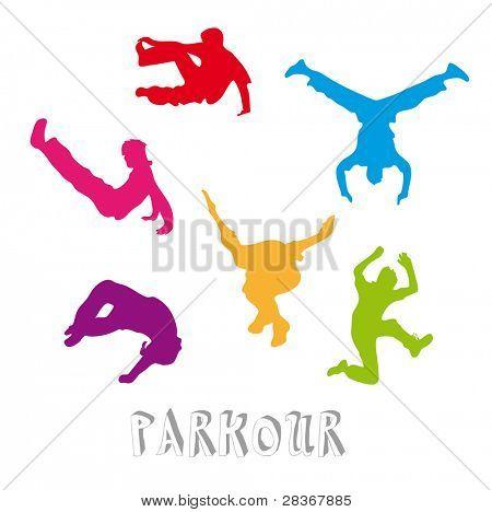 Set of 6 parkour silhouettes - urban freestyle sport