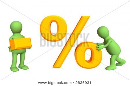 Two 3D Persons, Holding In Hands Symbols Minus And Percent
