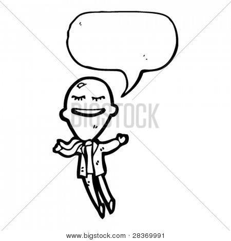 floating big head businessman cartoon