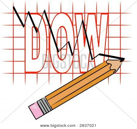 Pencil With Line Graph And Grid Dow Going Down