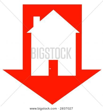 Arrow Red Down With House