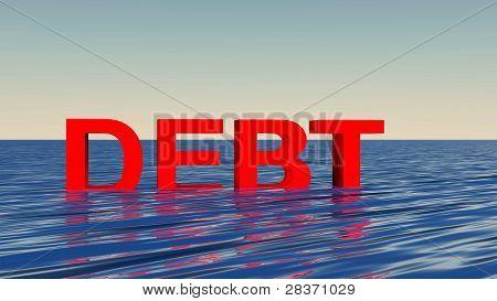 sinking in debt concept