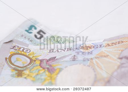 Macro Photograph, Five And Ten Pound Note.