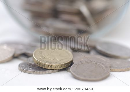 Spilled Coins From Glass Jar