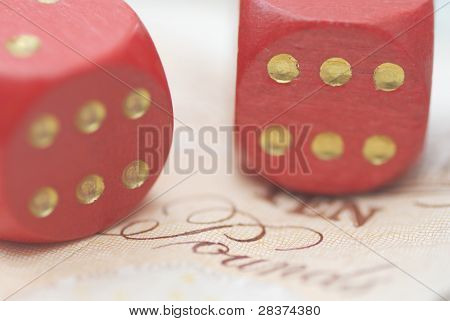 Two Dice On Bank Note.