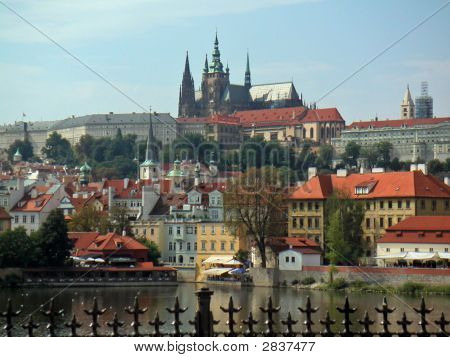 Eastern Europe Czech Rep Prague Castle Across River On Hill