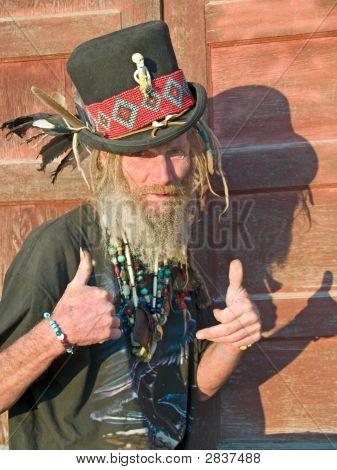 Eccentric Senior Man Thumbs Up