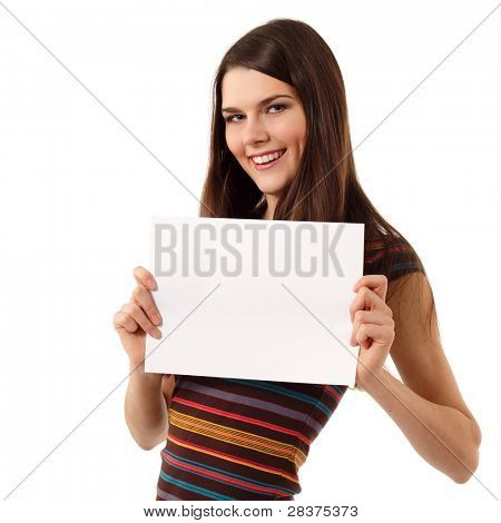 teen girl cheerful holding blank white paper closeup isolated on white background