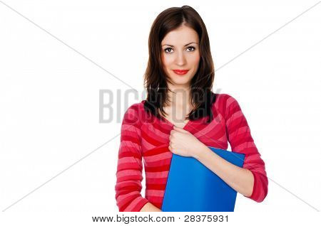 girl student with a blue folder on a white background