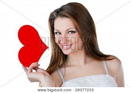 Lovely Smiling Woman Holding A Heart