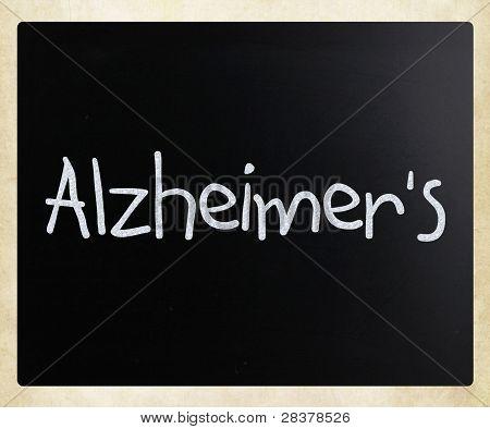 "The Word ""alzheimer's"" Handwritten With White Chalk On A Blackboard"