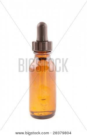 Botle of aromatherapy oil isolated on white