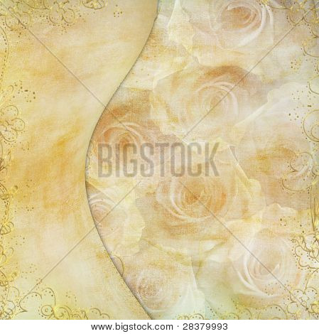 Greeting Golden Card With Beautiful  Roses