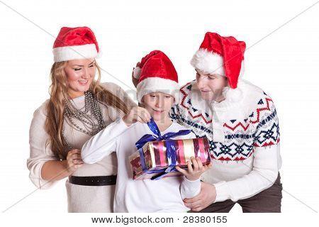 Happy Family With Gift Box. Christmas.