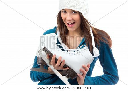 Woman With Ice Skates Winter Sport