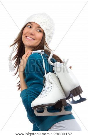 Woman Ice Skating Winter Sport Activity