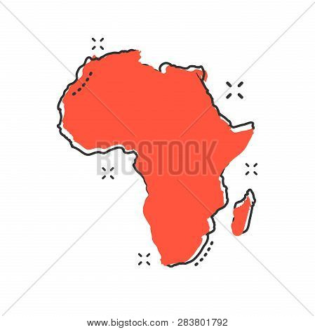 Cartoon Africa Map Icon In
