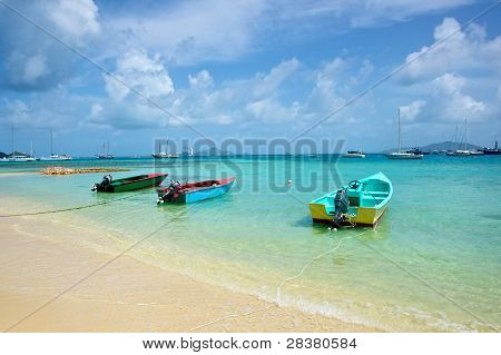 Three Boats at rest in the Caribbean