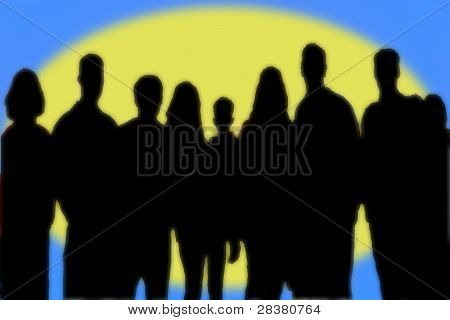 Silhouetted Of Group Of People