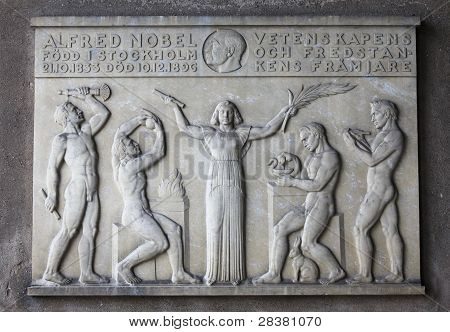 Plaque For Alfred Nobel In Stockholm
