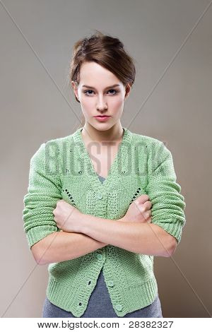 Extremely Aggressive Looking Young Woman.