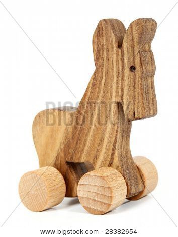 Wooden toy donkey with wheels