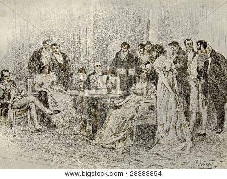 Social events in a luxurious house - illustration by artist A.P. Apsit from book