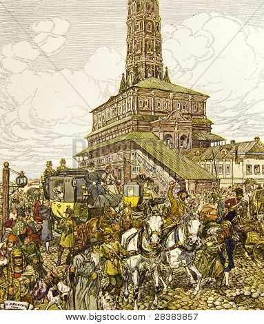 The carriage rides around the Kremin - illustration by artist A.P. Apsit from book