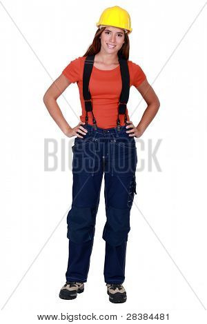 Female worker in dungarees