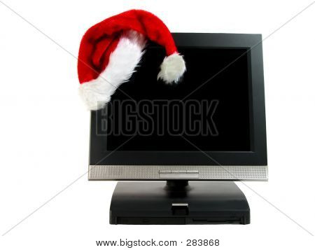 Santa's Hat On A Desktop Computer