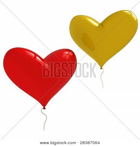Two Heart Shaped Balloons