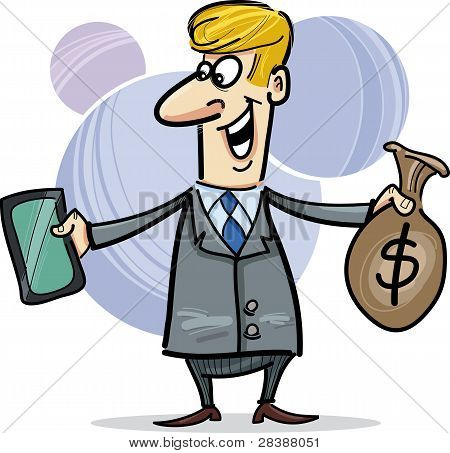 Businessman With Tablet Ant Sack Of Dollars