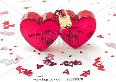 Wed locked, Two Hearts Locked,  With Small Decorations, Isolated On White
