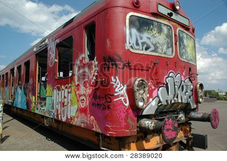 Graffiti on an old vandaliced train