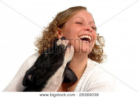 A very happy woman and her sweet dog