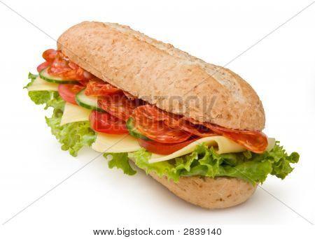 Salami Submarine Sandwich Isolated On White