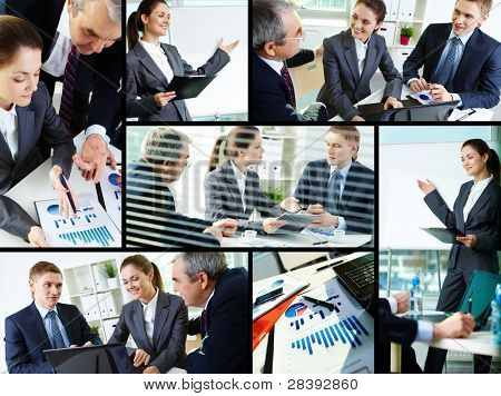 Collage of busy people discussing new project at meeting in office