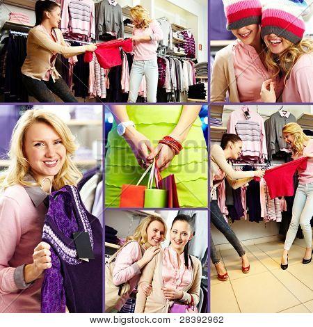 Collage de amigos bastante durante las compras en tiendas por Departamento