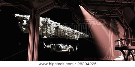 Battle Cruiser and Scout Ship Leaving Titan Docks
