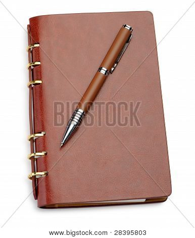 Notebook In A Brown Leather Cover And Stylish Pen