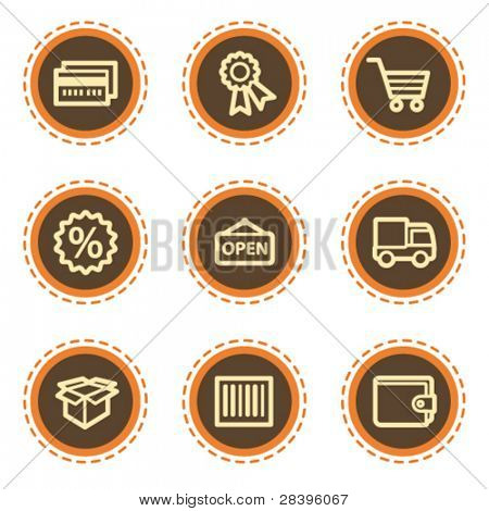 Shopping web icons set 2, vintage buttons