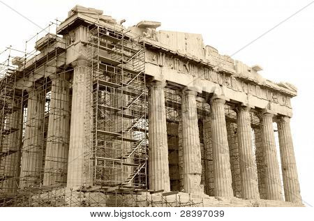 Scenic view in sepia of Parthenon Temple, Acropolis, Athens, Greece