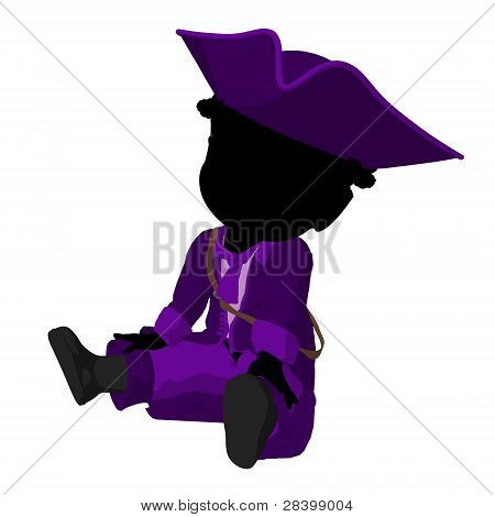 Little African American Pirate Girl Illustration Silhouette