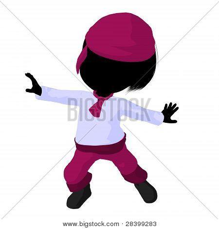 Little Pirate Girl Illustration Silhouette