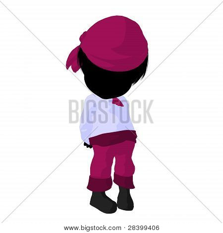 Little Pirate Girl Illustration Silhouette