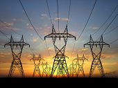 picture of electrical engineering  - 3D Electric powerlines over sunrise sky power - JPG