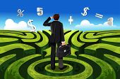 stock photo of maze  - A vector illustration of a businessman in maze facing a financial decision - JPG